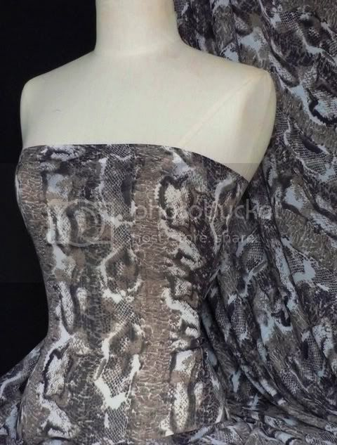 Black brown snake print soft touch crinkle chiffon sheer dressmaking fabric material Q456 BKBR